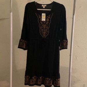 Style & Co. Black Embroidered Dress MP NWT